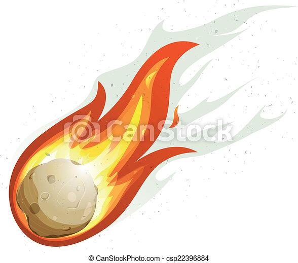 comète, fireball, dessin animé, voler - csp22396884