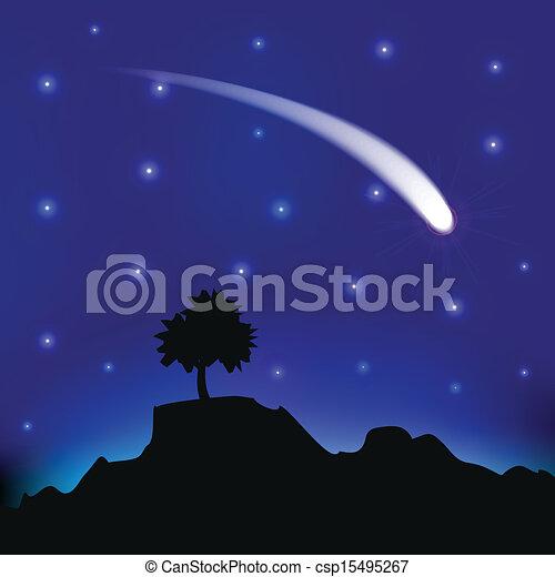 comète, voler, ciel, nuit - csp15495267