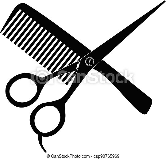 comb and scissors icon on white background. hair salon with scissors and comb sign. barber symbol. flat style. - csp90765969