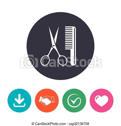 Comb hair with scissors sign icon. Barber symbol - csp32136758