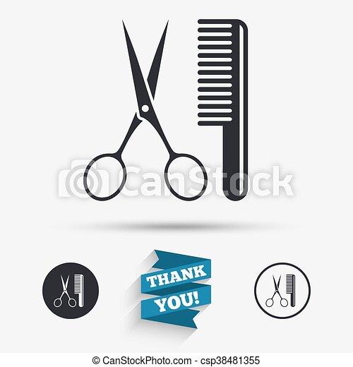 Comb hair with scissors sign icon. Barber symbol - csp38481355