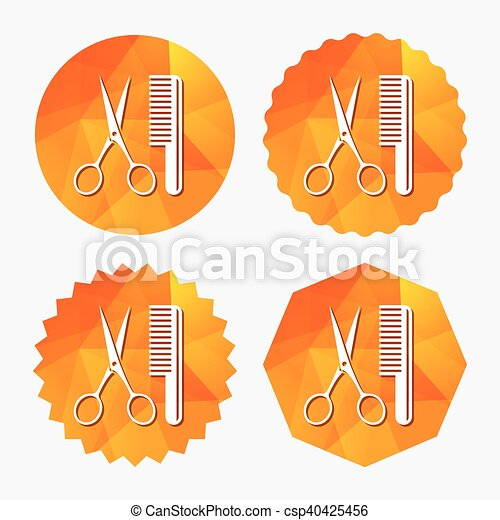 Comb hair with scissors sign icon. Barber symbol. - csp40425456