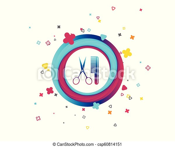 Comb hair with scissors sign icon. Barber symbol. - csp60814151