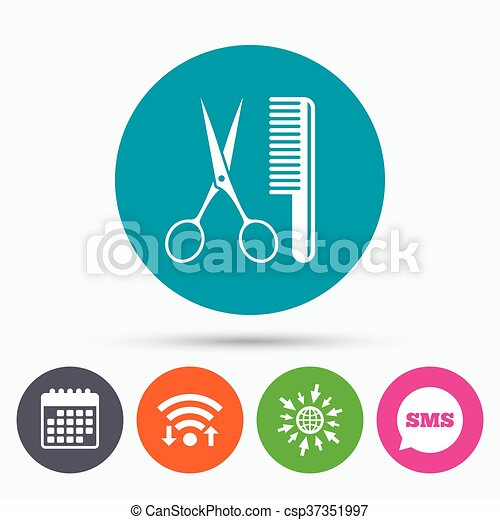 Comb hair with scissors sign icon. Barber symbol - csp37351997