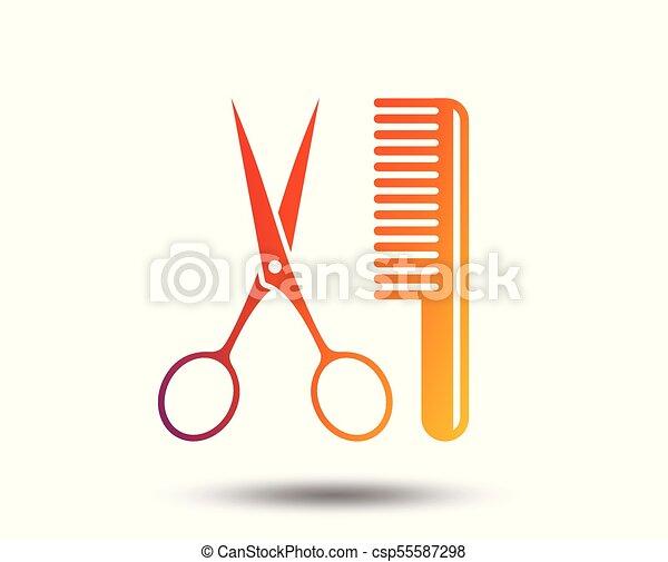 Comb hair with scissors sign icon. Barber symbol. - csp55587298