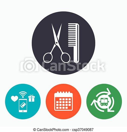 Comb hair with scissors sign icon. Barber symbol - csp37049087