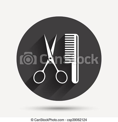 Comb hair with scissors sign icon. Barber symbol - csp39062124