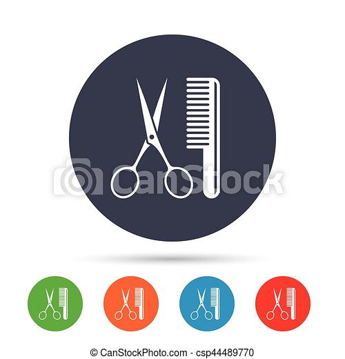Comb hair with scissors sign icon. Barber symbol. - csp44489770