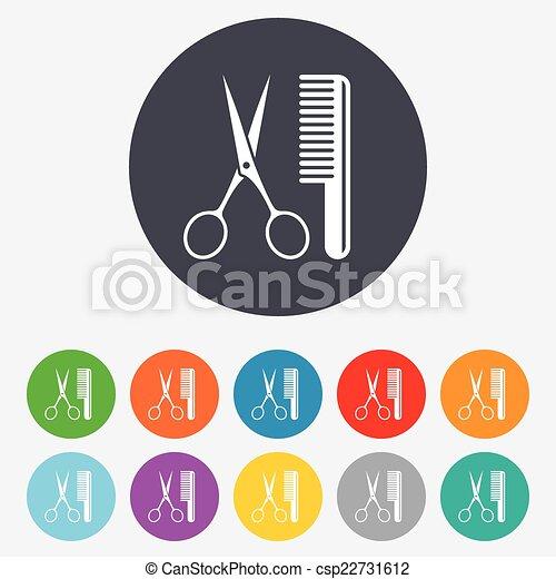 Comb hair with scissors sign icon. Barber symbol - csp22731612