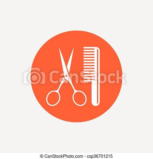 Comb hair with scissors sign icon. Barber symbol - csp36701215