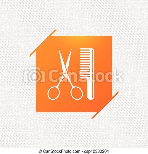 Comb hair with scissors sign icon. Barber symbol. - csp42330204
