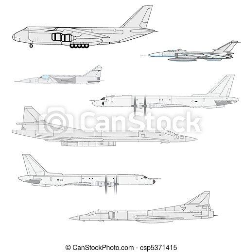 Combat aircraft. Team.  vector illustration for designers - csp5371415