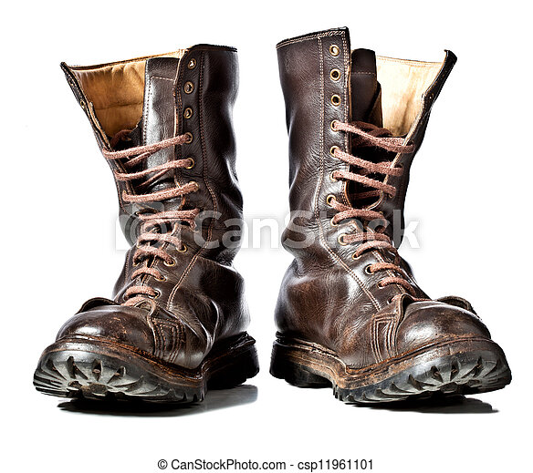 7d10d798706 Combat boots. Isolated used combat leather boots.
