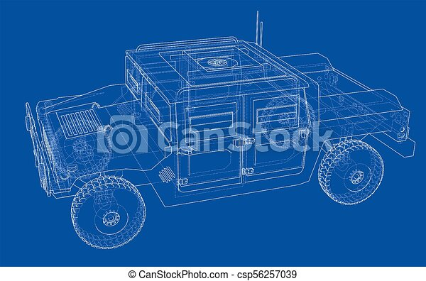 Combat car blueprint 3d illustration wire frame style drawings combat car blueprint csp56257039 malvernweather Choice Image