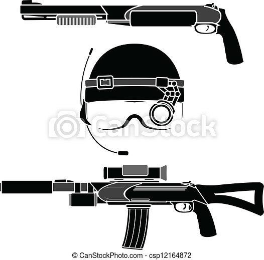 combat helmet and weapons - csp12164872