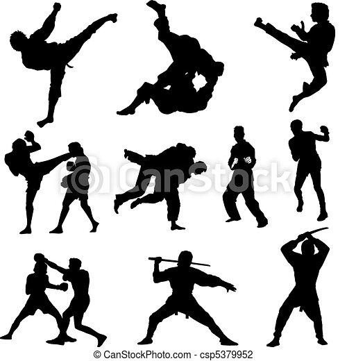 Combat sports silhouettes - csp5379952