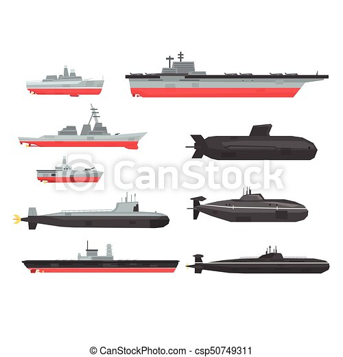 Combate naval, barcos, conjunto, barcos, submarino, vector ...
