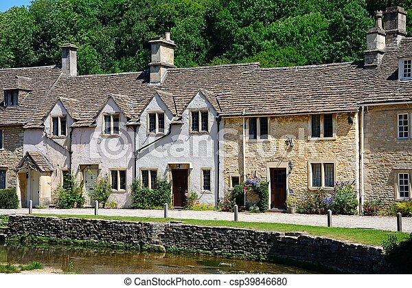 Cottages by stream, Castle combe. - csp39846680