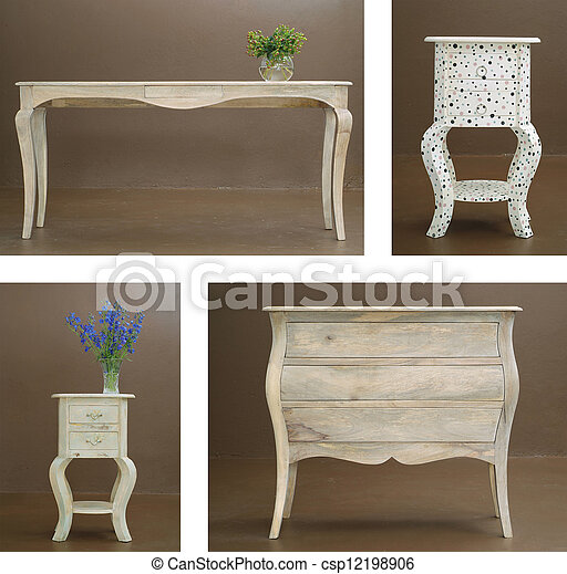 Combination collage various wooden table and dresser - csp12198906