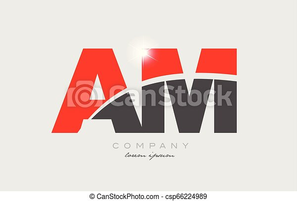 Combination Letter Am A M In Grey Red Color Alphabet For Logo Icon Design
