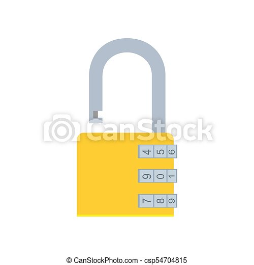 Combination lock padlock vector icon security safe illustration protection code symbol. Steel safety password privacy - csp54704815