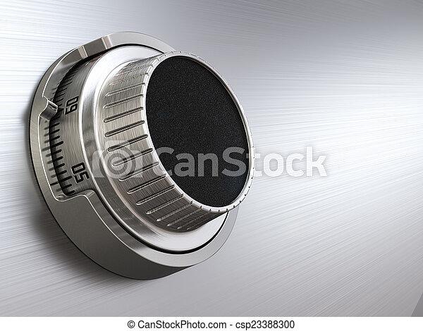 Combination safe dial lock. Concept of banking. Closeup backgro - csp23388300