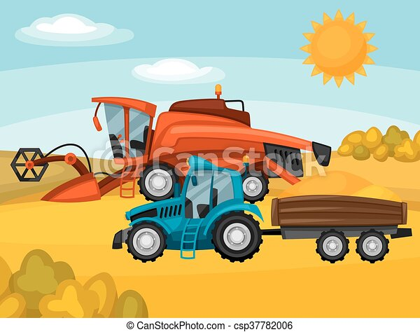 Combine harvester and tractor on wheat field. Agricultural illustration farm rural landscape - csp37782006