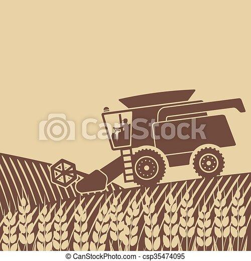 combine harvester in field - csp35474095