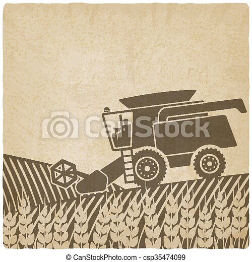 combine harvester in field old background - csp35474099
