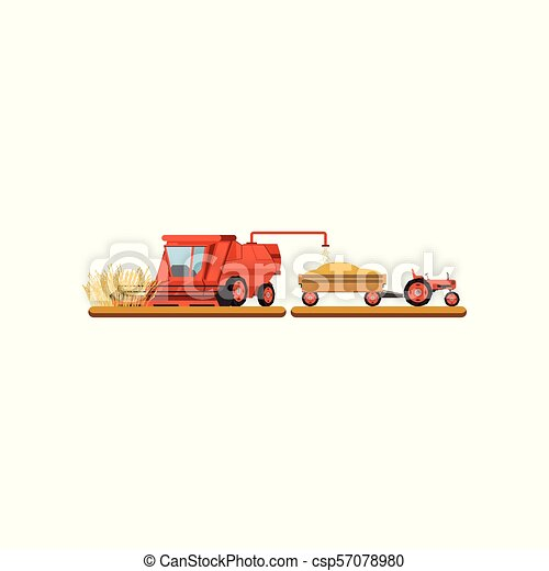 Combine harvester mowing wheat, agricultural machinery vector Illustration on a white background - csp57078980