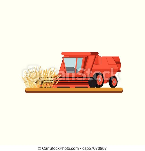 Combine harvester working in field gathering wheat, agricultural machinery vector Illustration on a white background - csp57078987