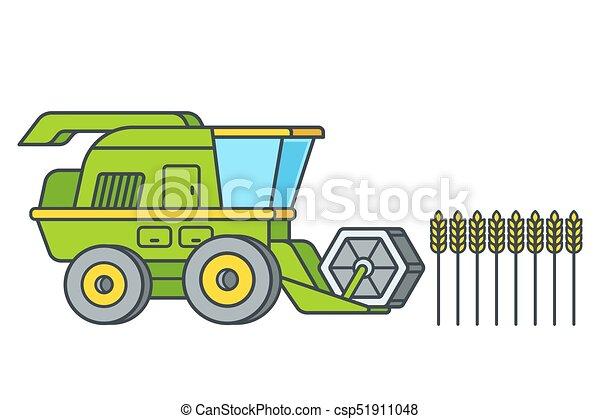 Combine harvesting wheat - csp51911048