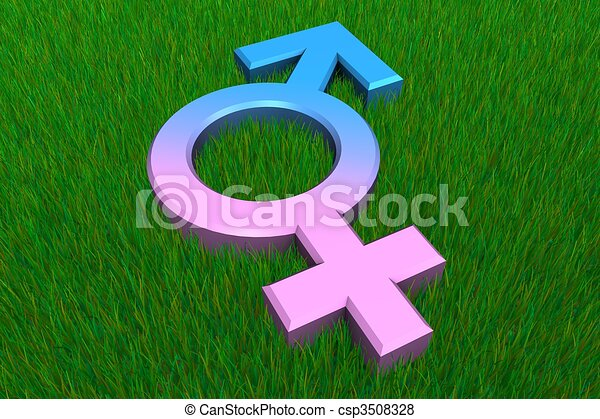 Combined Male/Female Symbol on Grass - csp3508328
