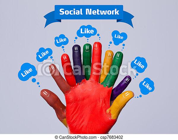 come, colorito, grigio, segno, smileys, dito, fondo, sociale, bolle, felice, rete - csp7683402
