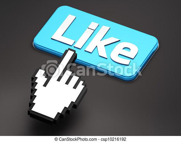 come, hand-shaped, bottone, cursore, premere, topo - csp10216192