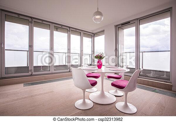 Comedor, mesa redonda. Habitación, moderno, cenar mesa, blanco, redondo.