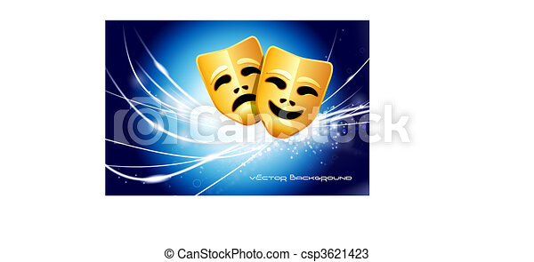 Comedy and Tragedy Masks on Abstract Modern Light Background - csp3621423