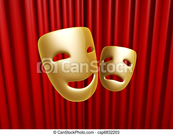 comedy and tragedy masks over red curtain - csp6832203