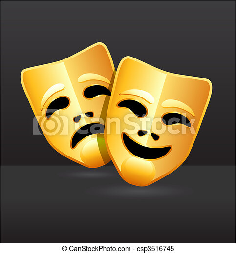 Comedy and tragedy theater masks - csp3516745