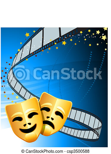 Comedy and tragedy theater masks background - csp3500588