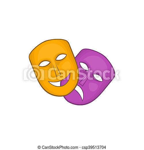 Comedy and tragedy theatrical masks icon - csp39513704