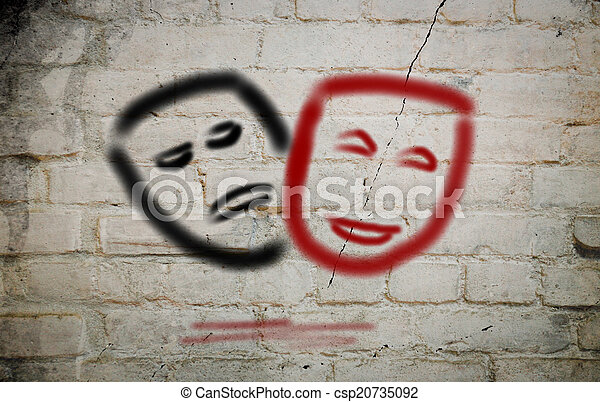 Comedy And Tragedy Theatrical Masks Concept - csp20735092