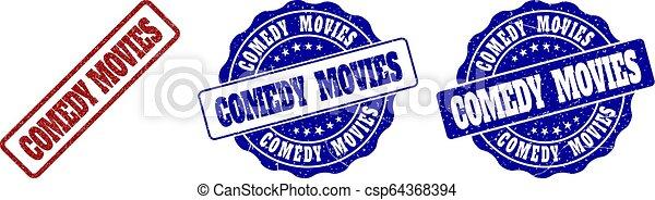 COMEDY MOVIES Grunge Stamp Seals - csp64368394
