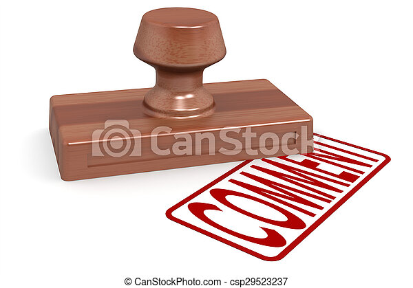 Un comentario del sello de madera con texto rojo - csp29523237