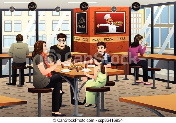 comer, família, pizza - csp36416934
