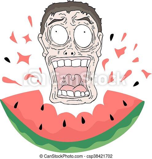 comer, loucos, melancia, rosto - csp38421702
