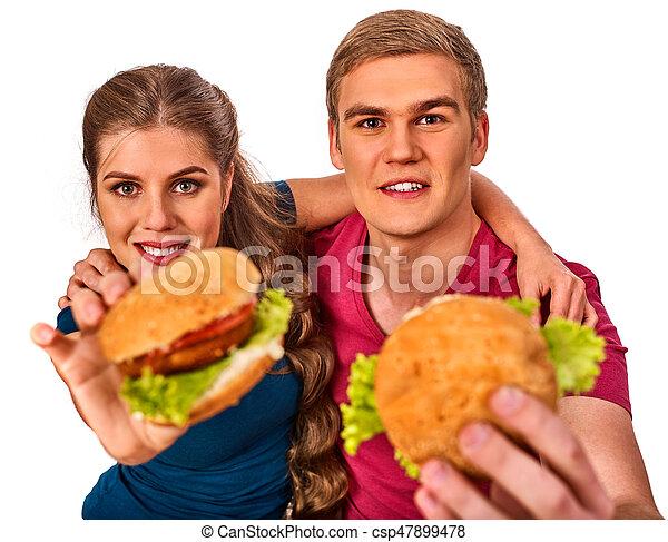 comer mulher, par, rapidamente, alimento., deleite, hamburger, homem - csp47899478