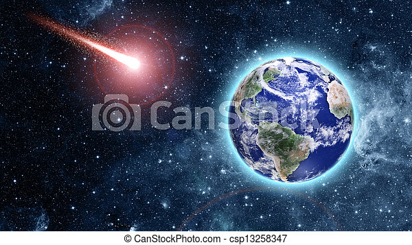 comet coming to blue planet in space - csp13258347
