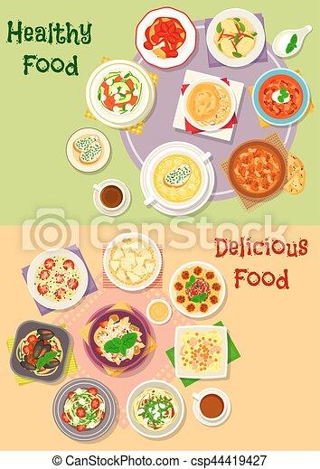 Comfort Food Icon Set For Dinner Menu Design