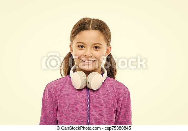Comfortable Headphones For Easy Listening Comfort Little Girl Wearing Headphones Isolated On White Small Child With